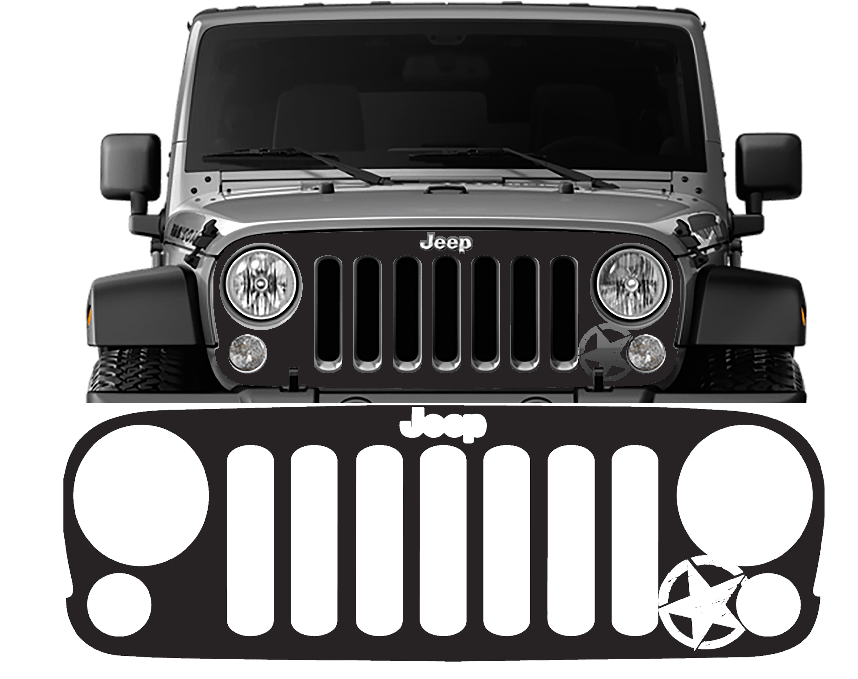 Jeep Wrangler Grill >> Jeep Wrangler 07 18 Jk Grille Vinyl Decal Overlay