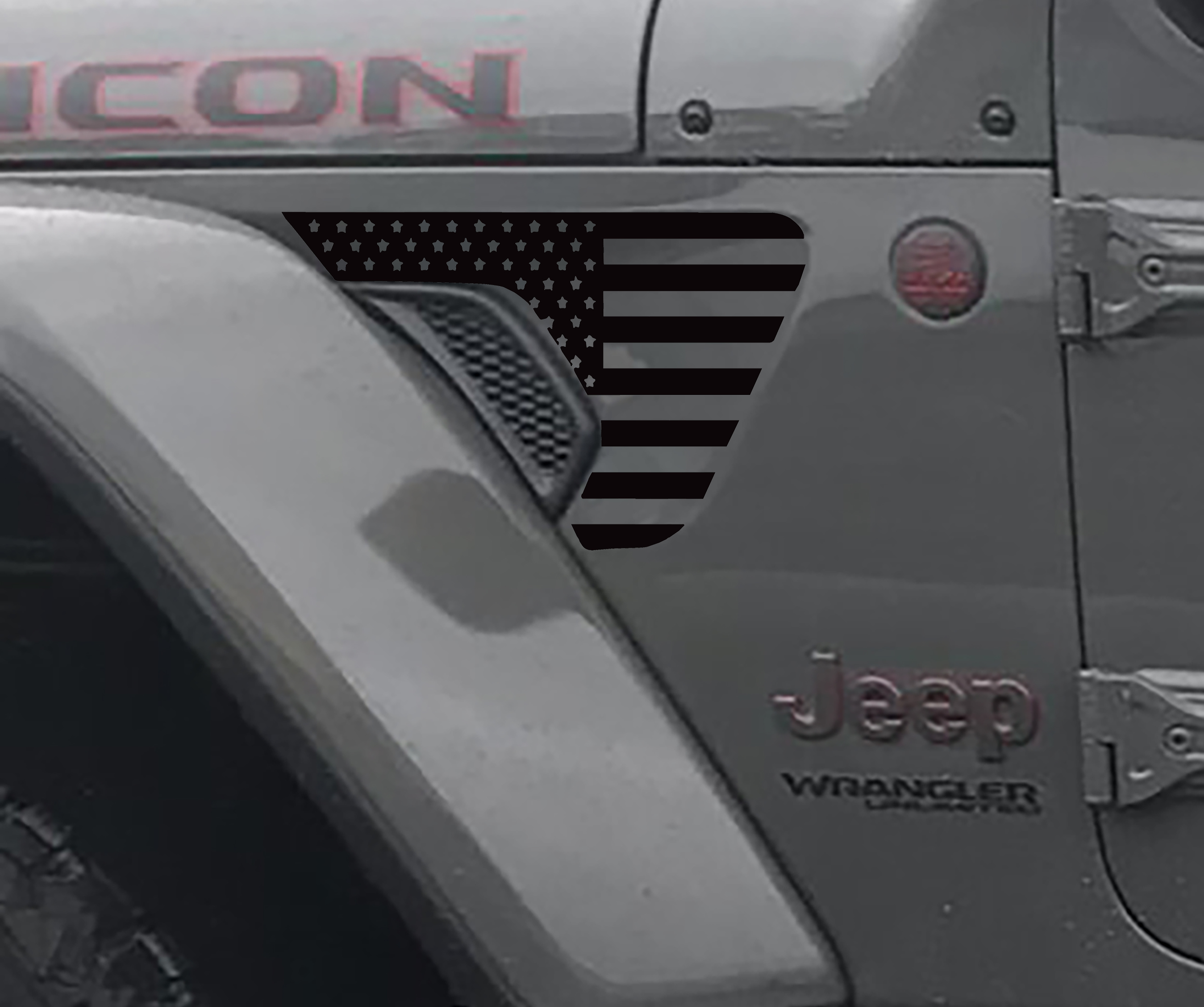 Jeep Wrangler 2018 JL JLU Front Fender American Flag Vent Accent 2pc Vinyl Decal Graphic