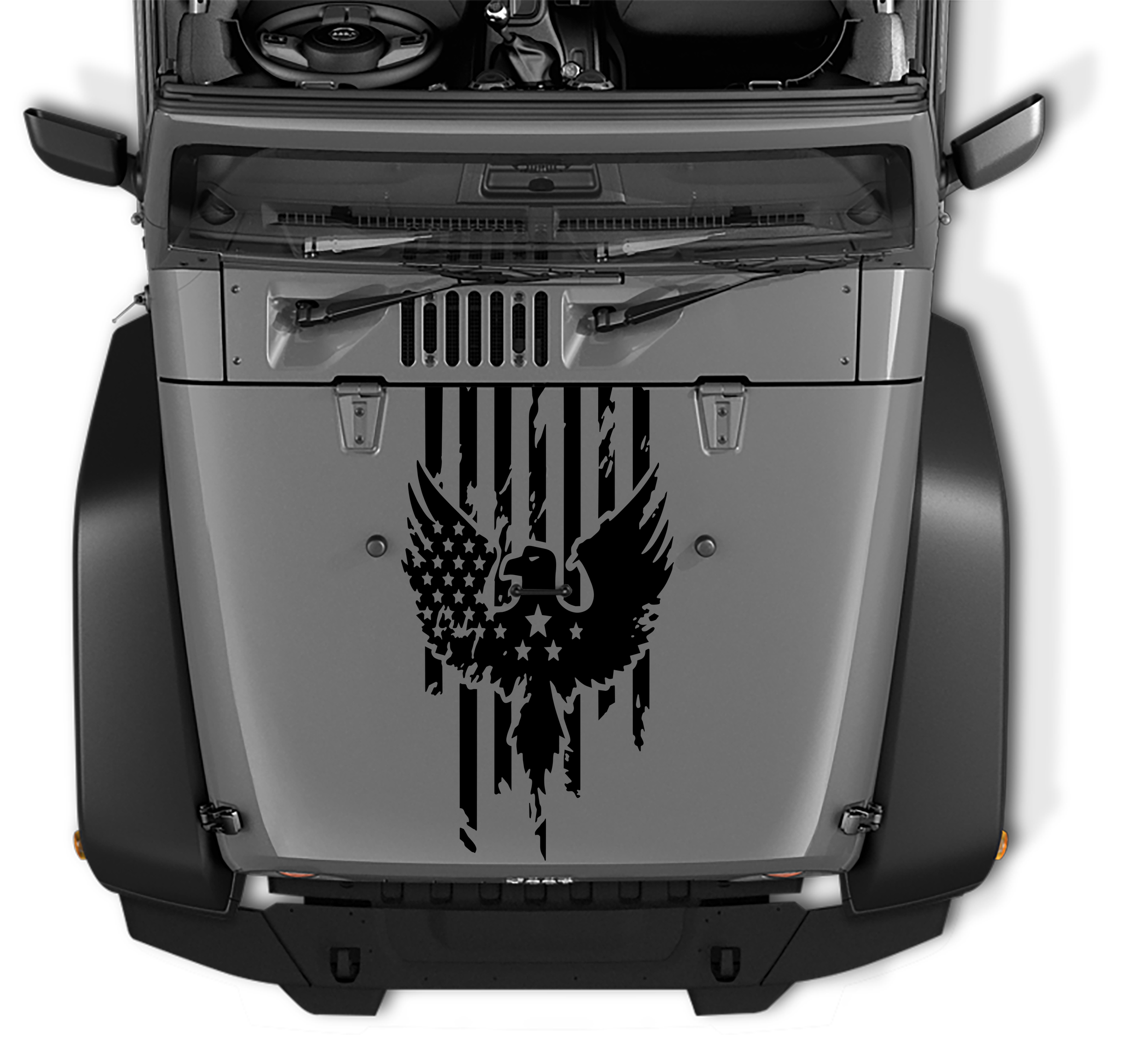 Jeep Wrangler Distressed American Flag w/ Eagle Blackout Hood Vinyl Decal