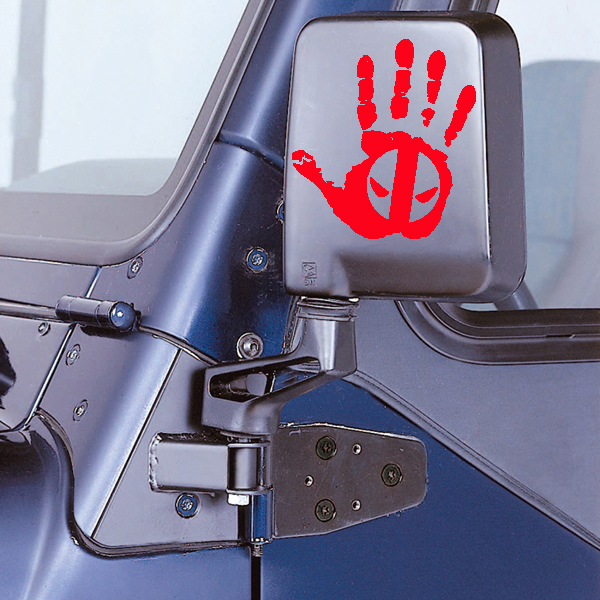 Jeep Wave Deadpool Eyes Hand Ver 1 Vinyl Decal for Jeep Wrangler