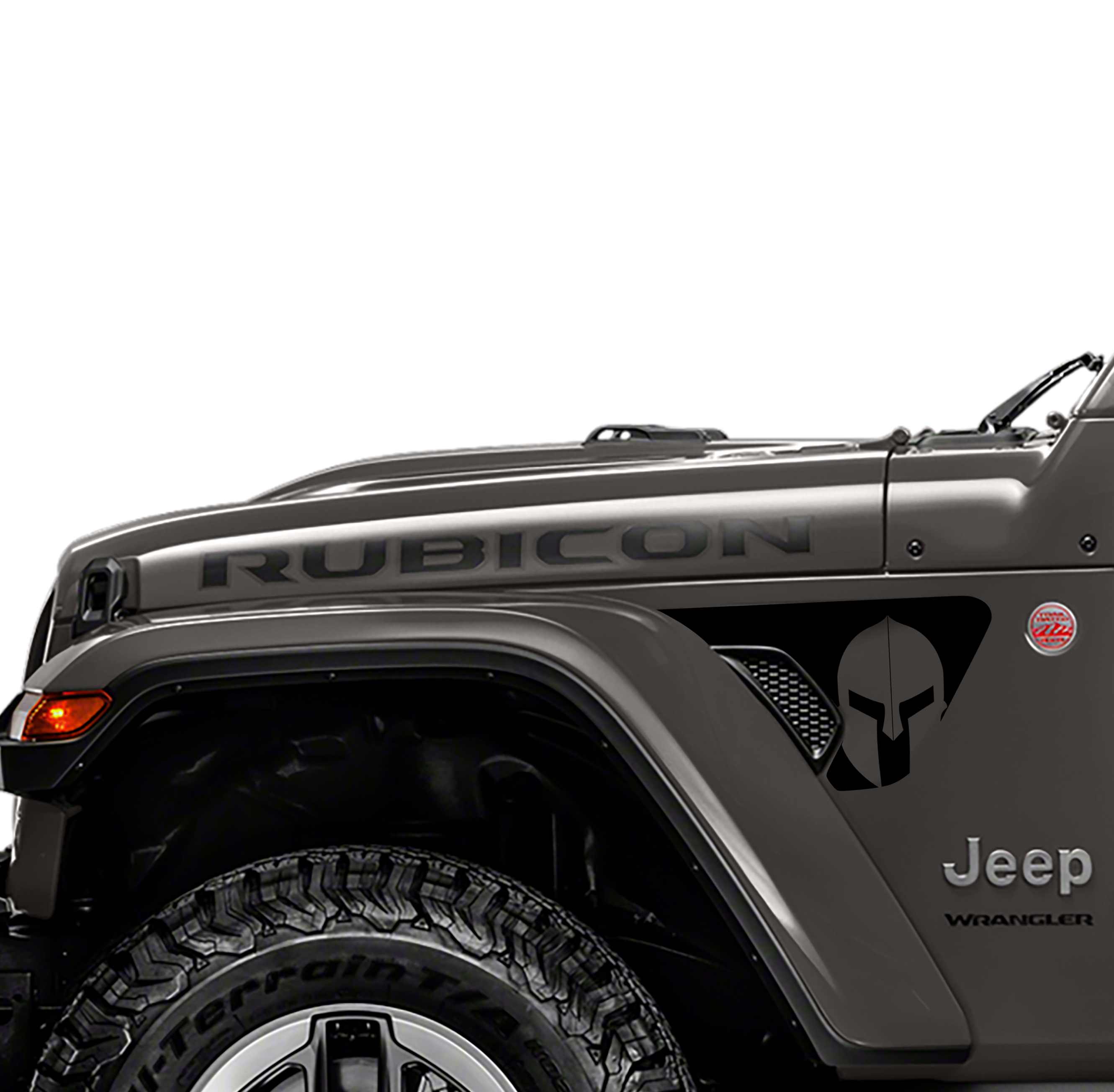 Jeep Wrangler 2018 JL JLU Front Fender Spartan Gladiator Helmet Vent Accent 2pc Vinyl Decal Graphic