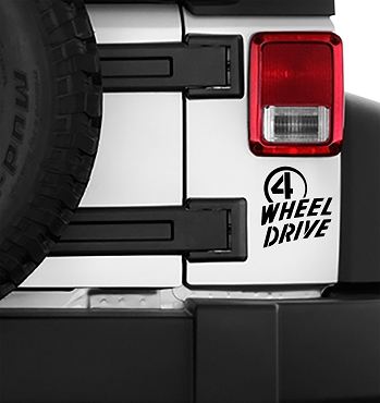 Jeep Wrangler Willys 4 Wheel Drive Logo Vinyl Decal