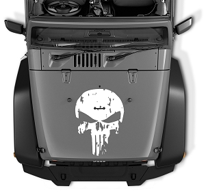 Hood Decal for Jeep Wrangler - Distressed Punisher Skull Vinyl Blackout Decal | Distressed Punisher Skull Vinyl Decal