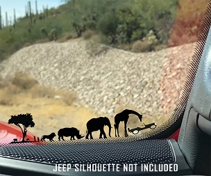 African Safari Windshield Jeep Corner Chaser Decal