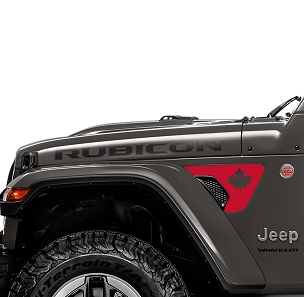 Jeep Wrangler 2018 JL JLU Front Fender Canadian Maple Leaf Vent Accent 2pc Vinyl Decal Graphic