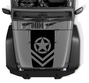 Jeep Chevron Oscar Mike Army Star Black Out Hood Vinyl Decal