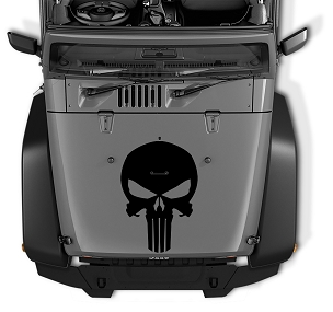 Jeep Wrangler Punisher Skull Vinyl Blackout Hood Decal | Punisher Skull Vinyl Decal