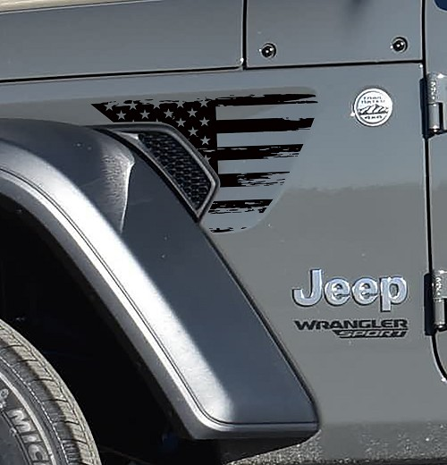 Jeep Wrangler JL Rubicon Fender Vent Distressed American Flag Matte Black Decal