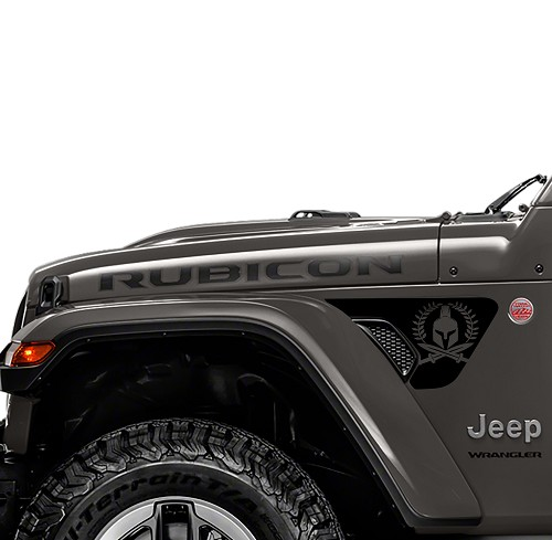 Jeep Wrangler 2018 JL JLU Front Fender Spartan Vent Accent 2pc Vinyl Decal Graphic