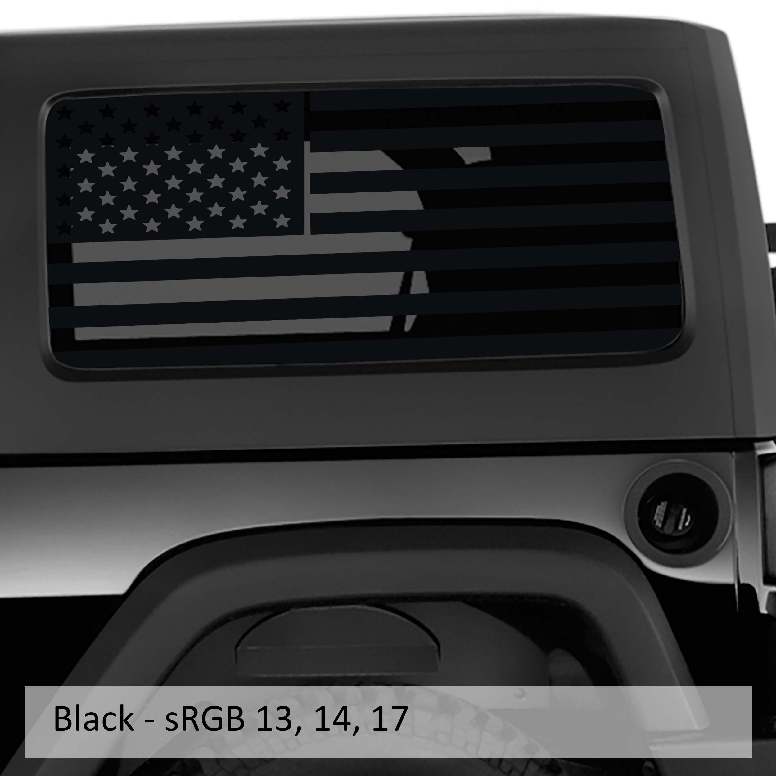 Jk & JL American Flag Window Hardtop Set Vinyl Decal | 2007-2019+