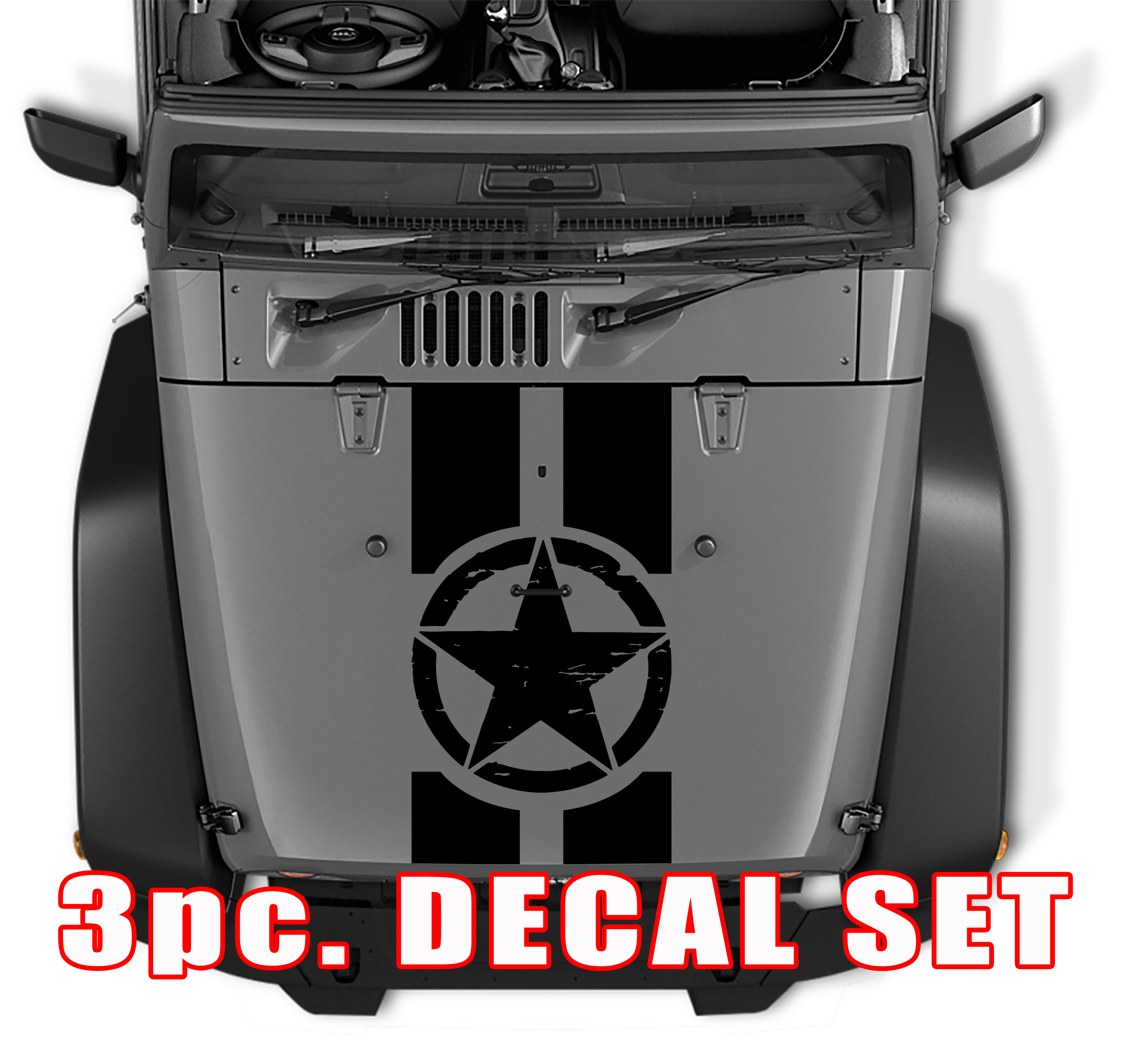 Distressed Oscar Mike Military Star Jeep Black Out Hood 3 Piece Vinyl Decal Set