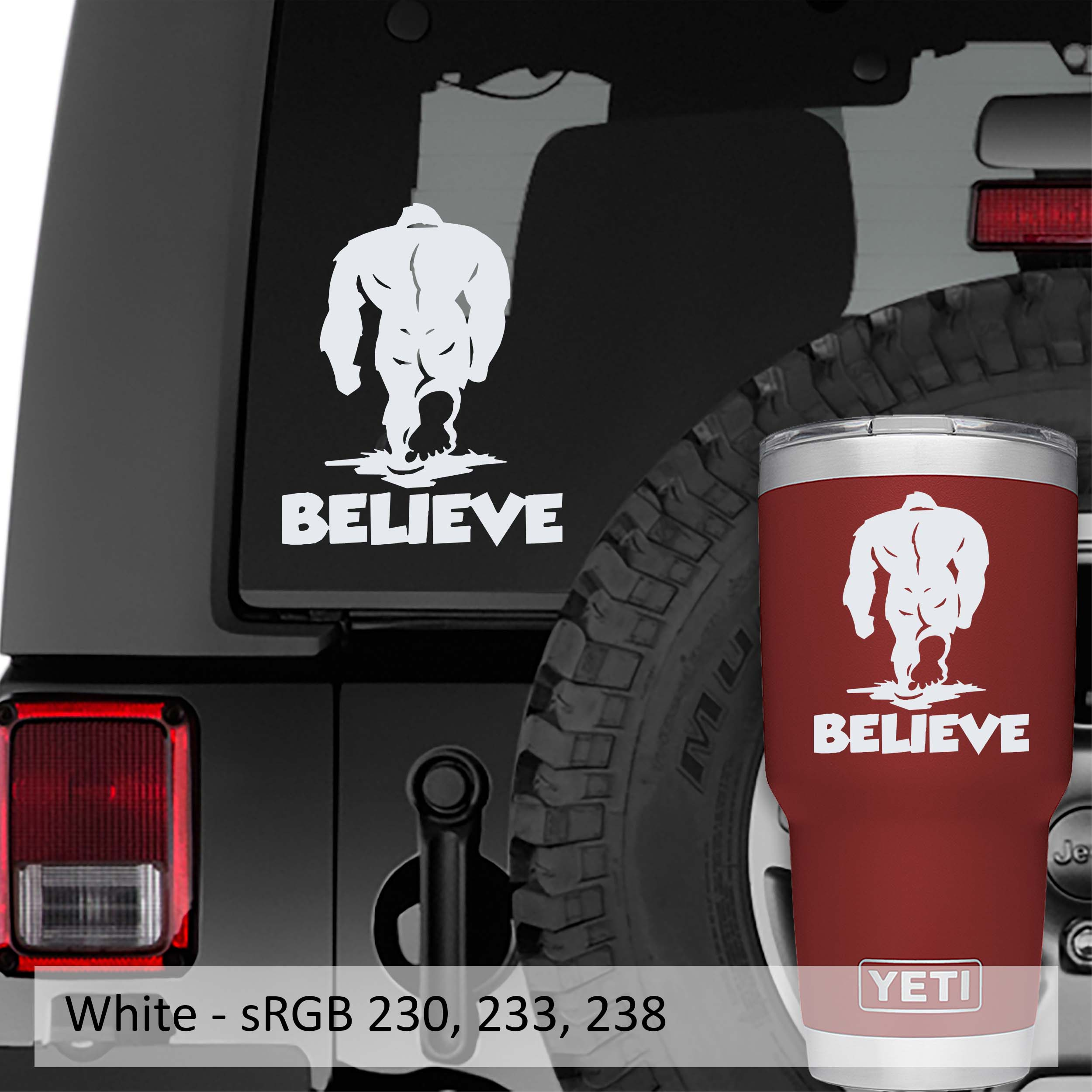Bigfoot Sasquatch Believe Vinyl Decal