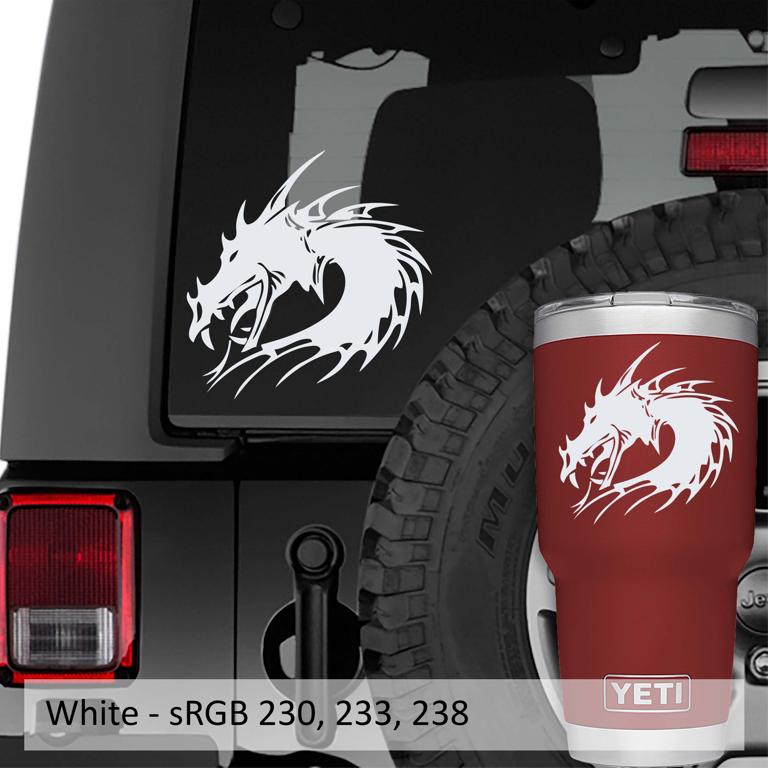 Celtic Dragon Head Vinyl Decal