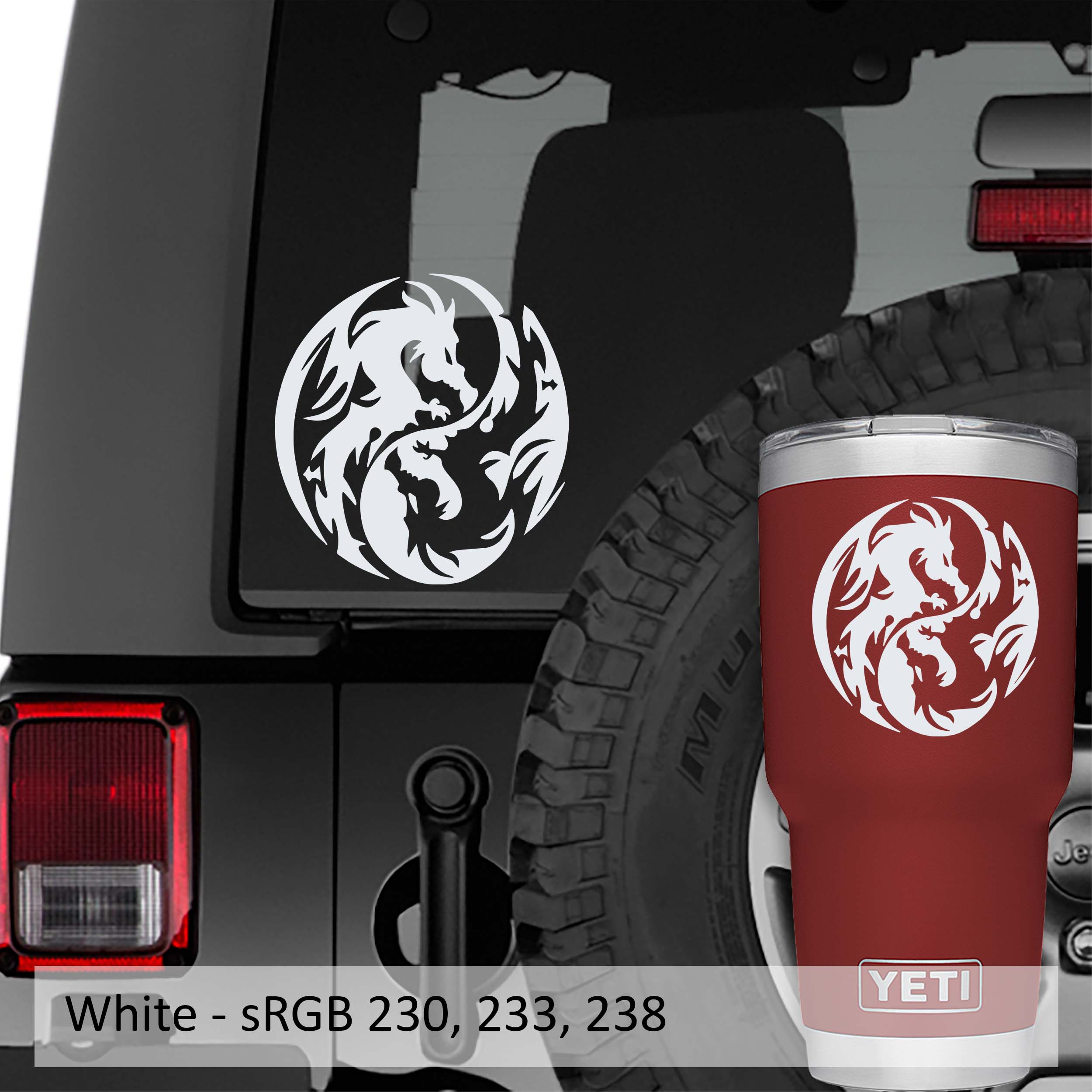 Dragon Yin Yang Symbol Vinyl Decal