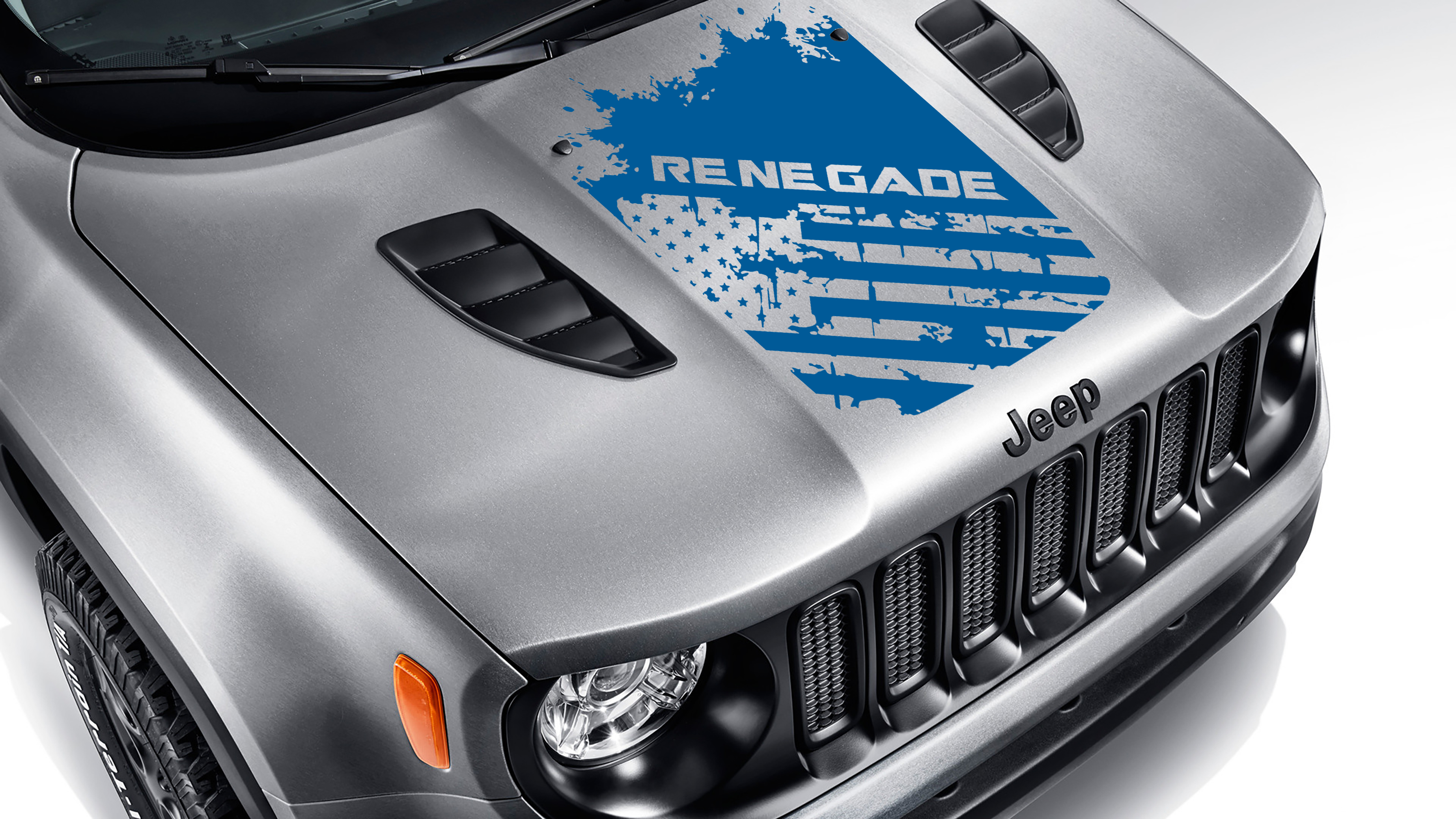 Renegade BU Distressed American Flag Blackout Hood Vinyl Decal
