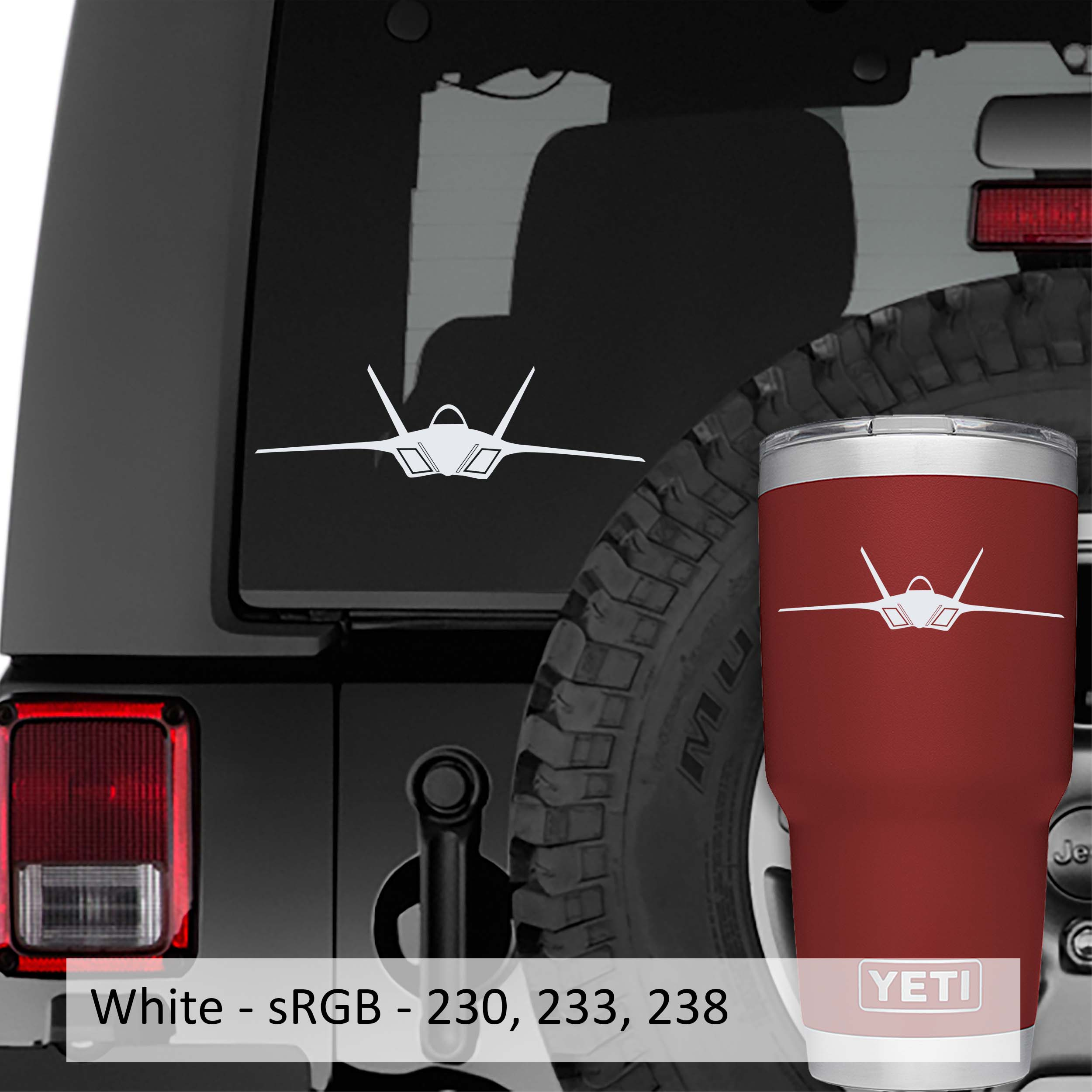 F22a Raptor Vinyl Decal | F22a Raptor Fighter Jet Tumbler Decal