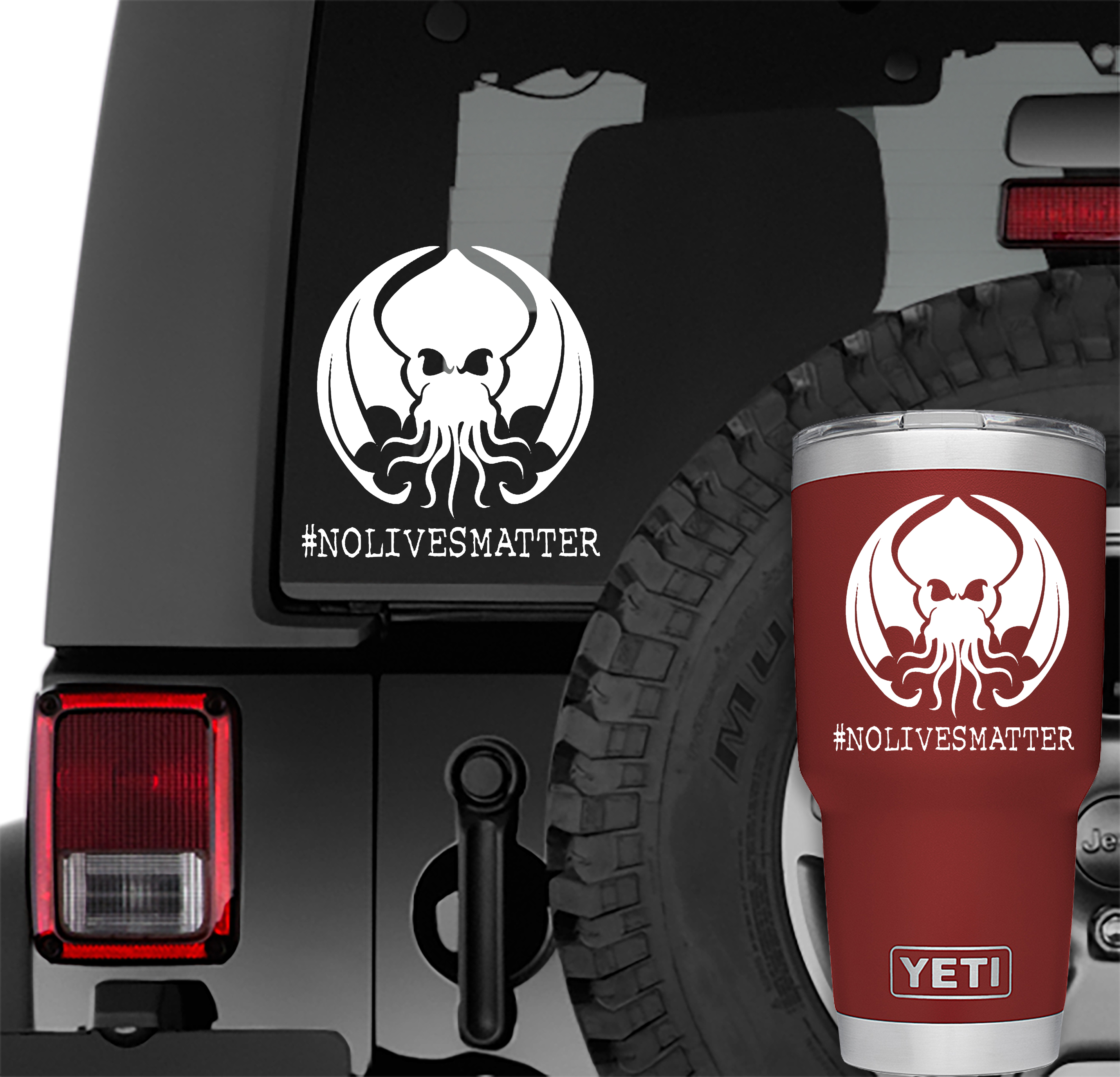 Cthulhu No Lives Matter Vinyl Decal | Cthulhu No Lives Matter Tumbler Decals