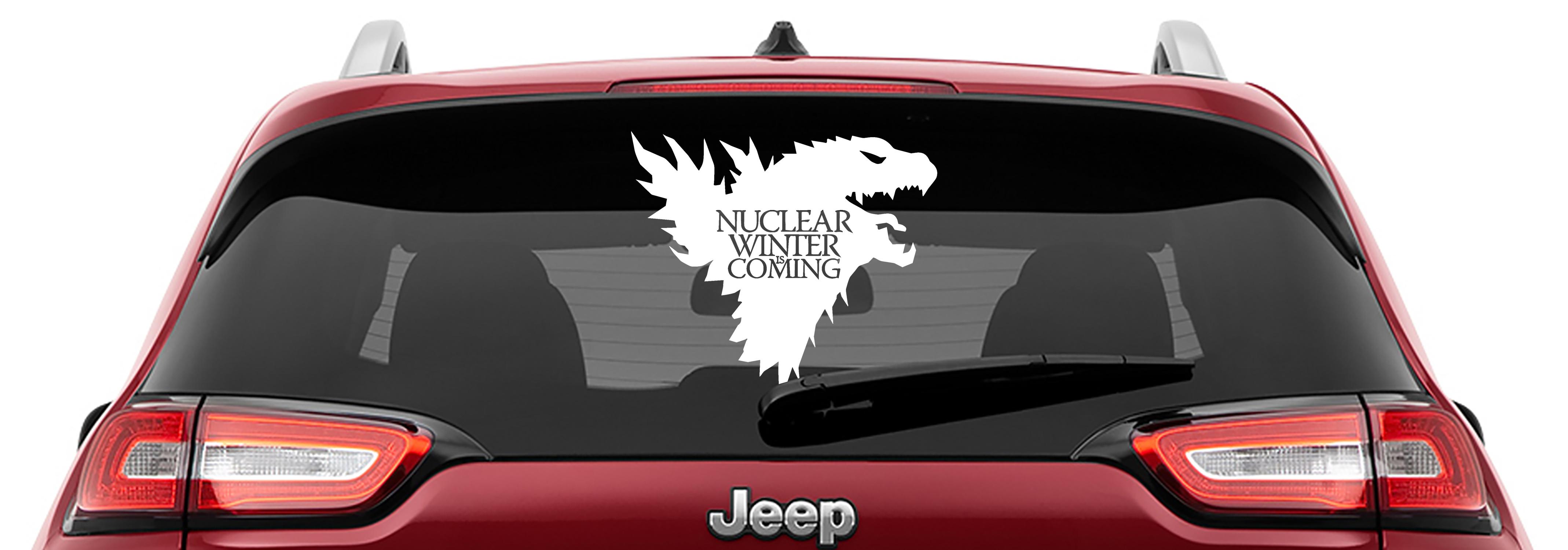 Godzilla Nuclear Winter is Coming Vinyl DecalGodzilla Game of Thrones Parody