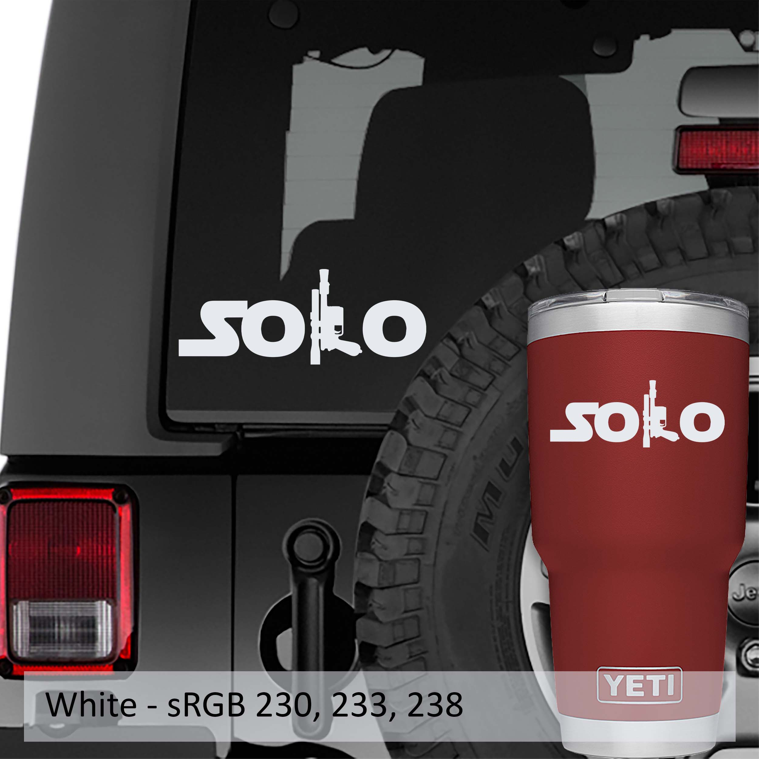 Han Solo Name With Blaster Vinyl Decal Jeep Window Decals