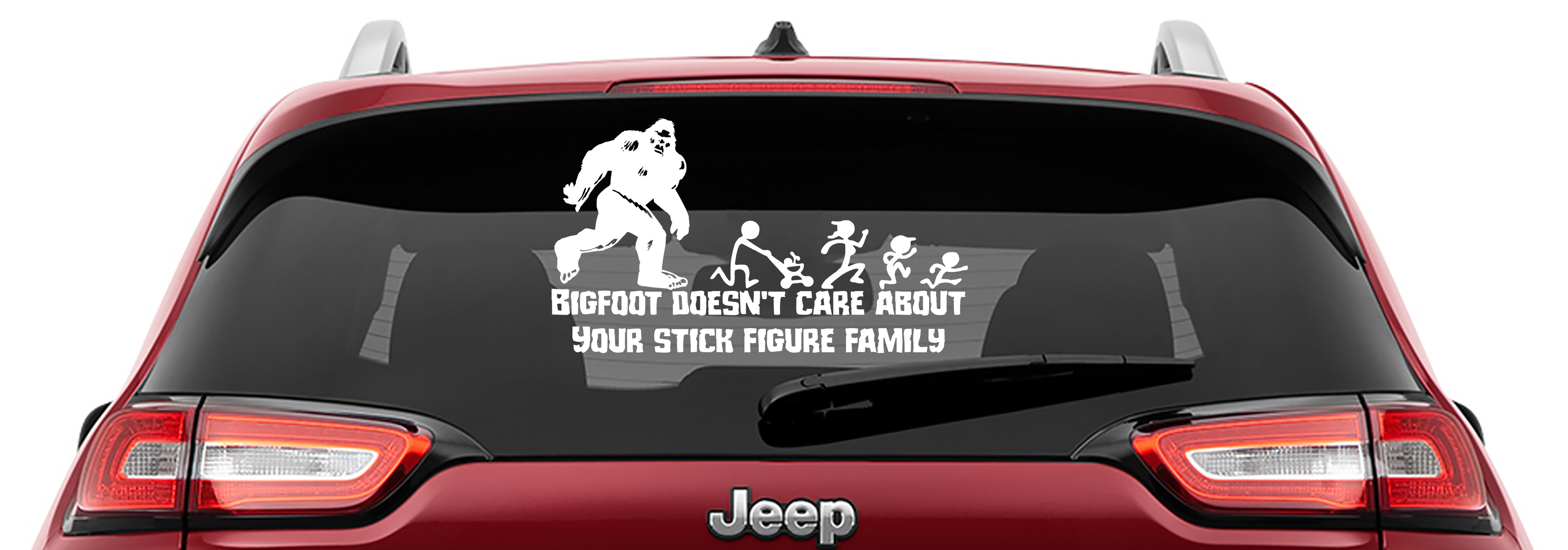 Bigfoot Doesn't Care Your Stick Figure Family Vinyl Decal