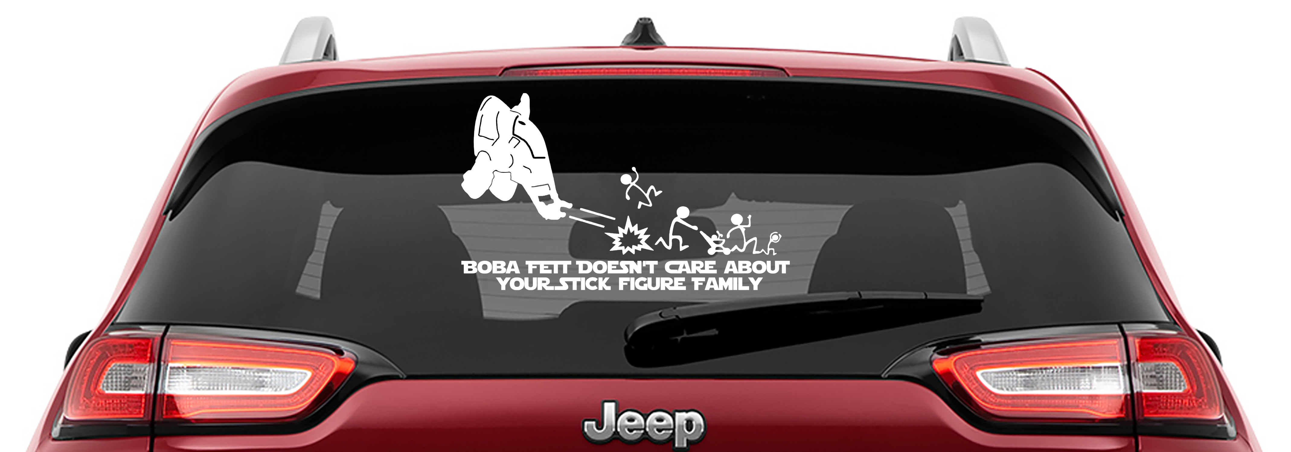 Boba Fett Doesn't Care Your Stick Figure Family Vinyl Decal