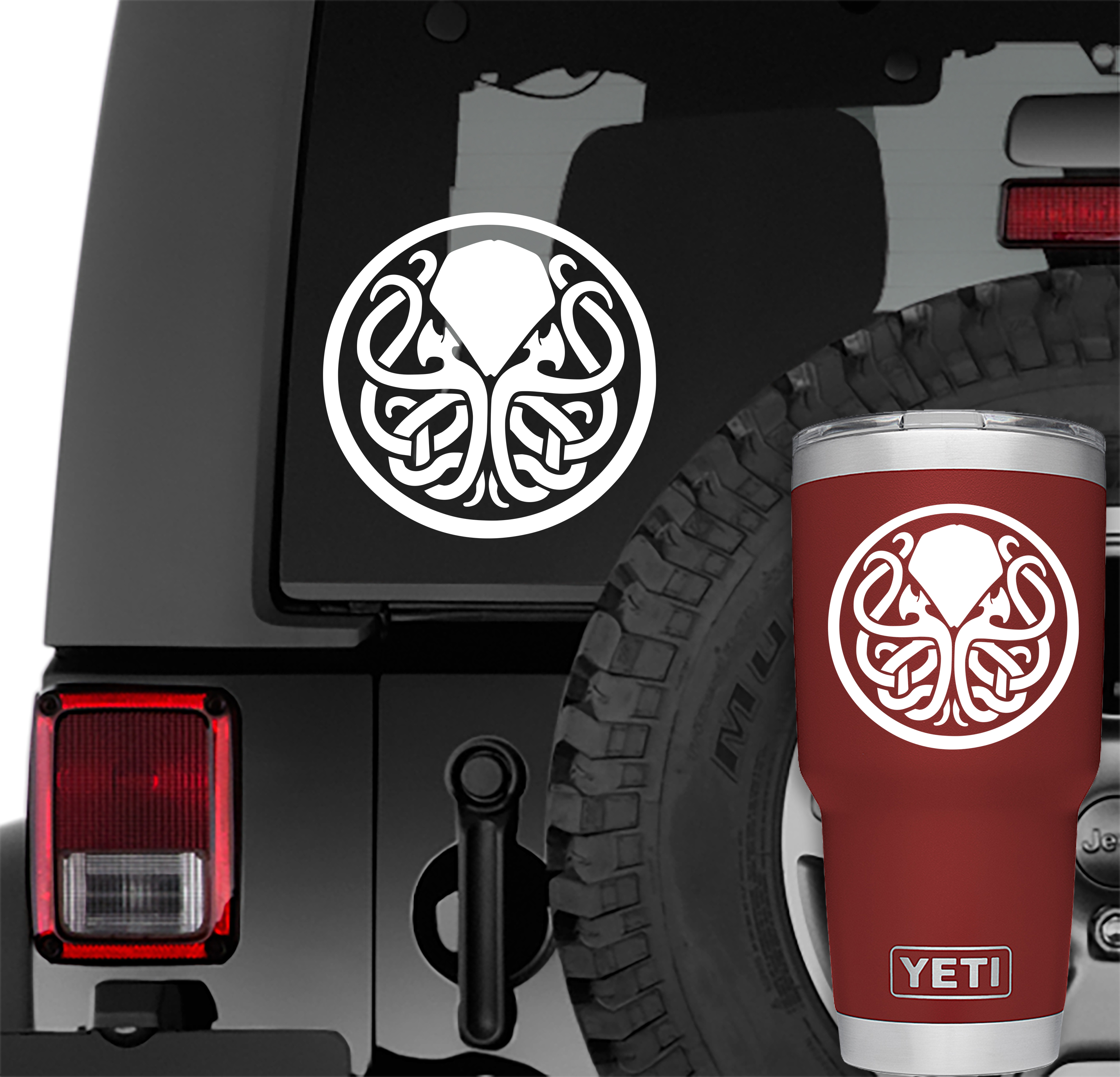 Cthulhu Celtic Knot Vinyl Decal | Cthulhu Celtic Knot Tumbler Decals