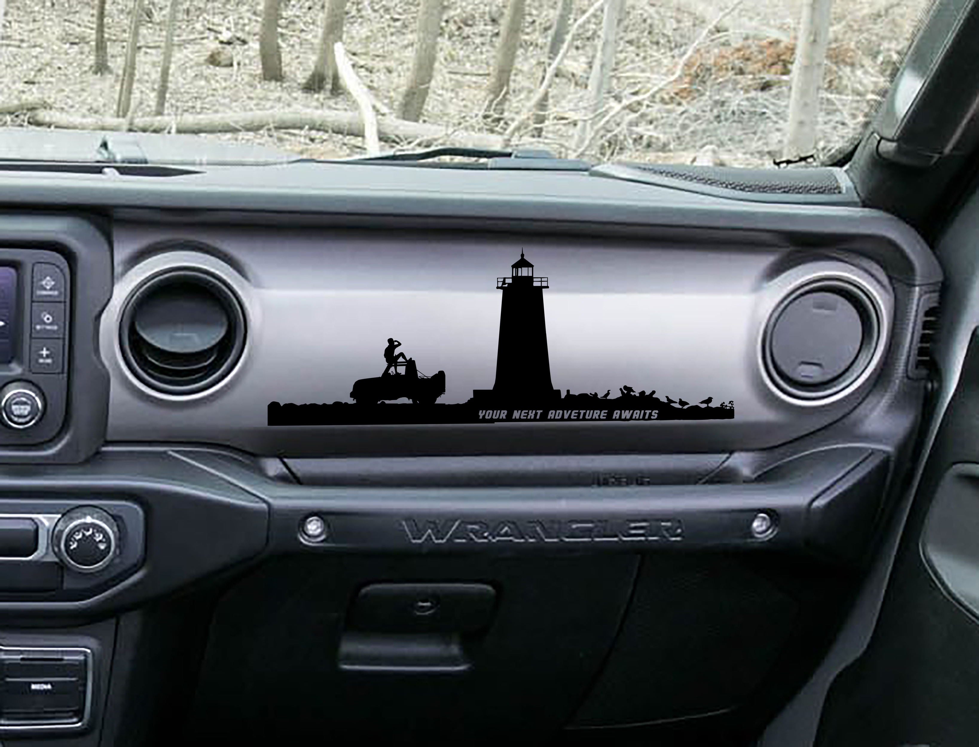 JL/JT Dashboard Lighthouse Your Next Adventure Awaits Vinyl Decal