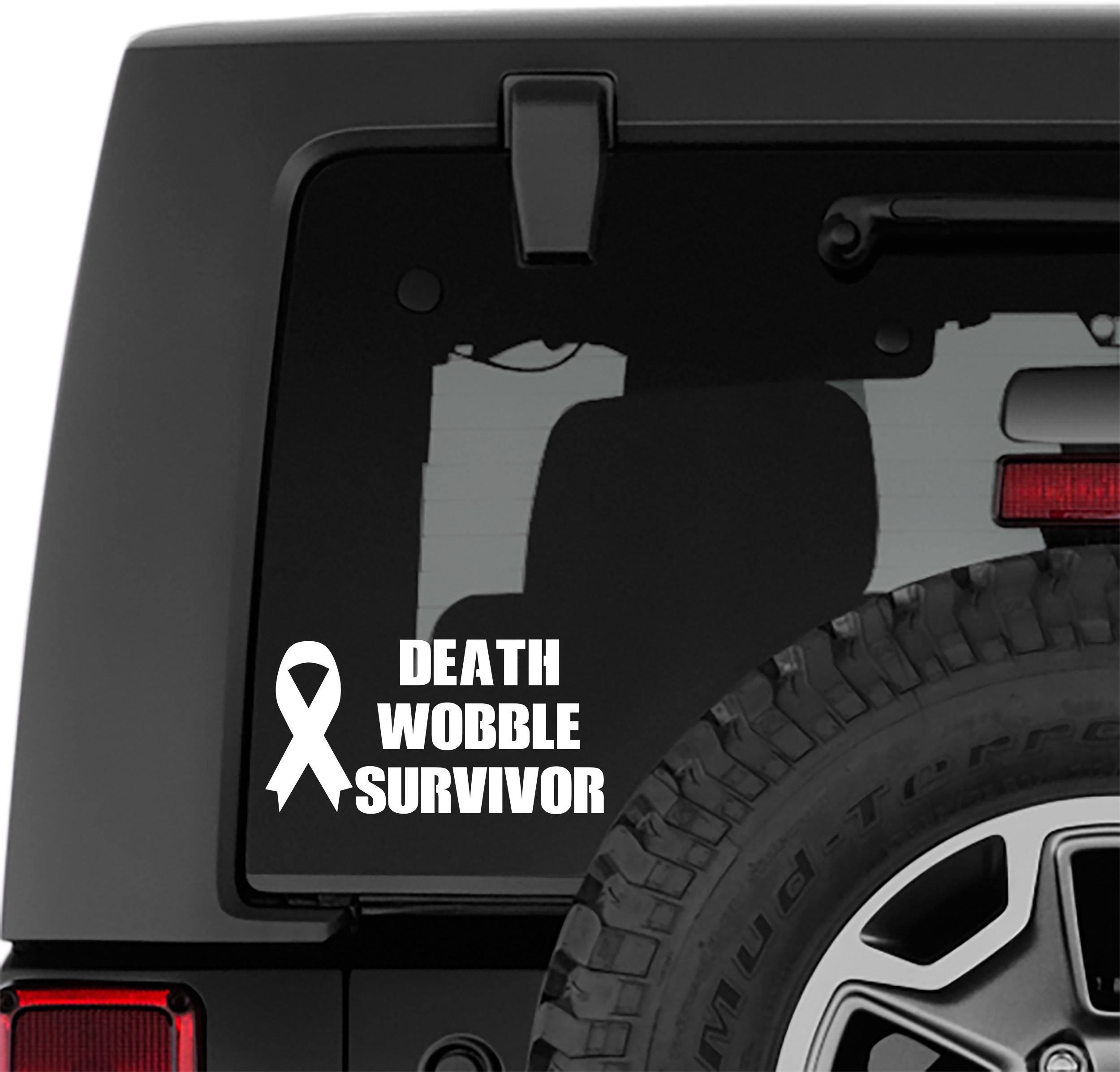 Death Wobble Survivor Vinyl Decal | 4x4 Death Wobble Survivor Ribbon Sticker