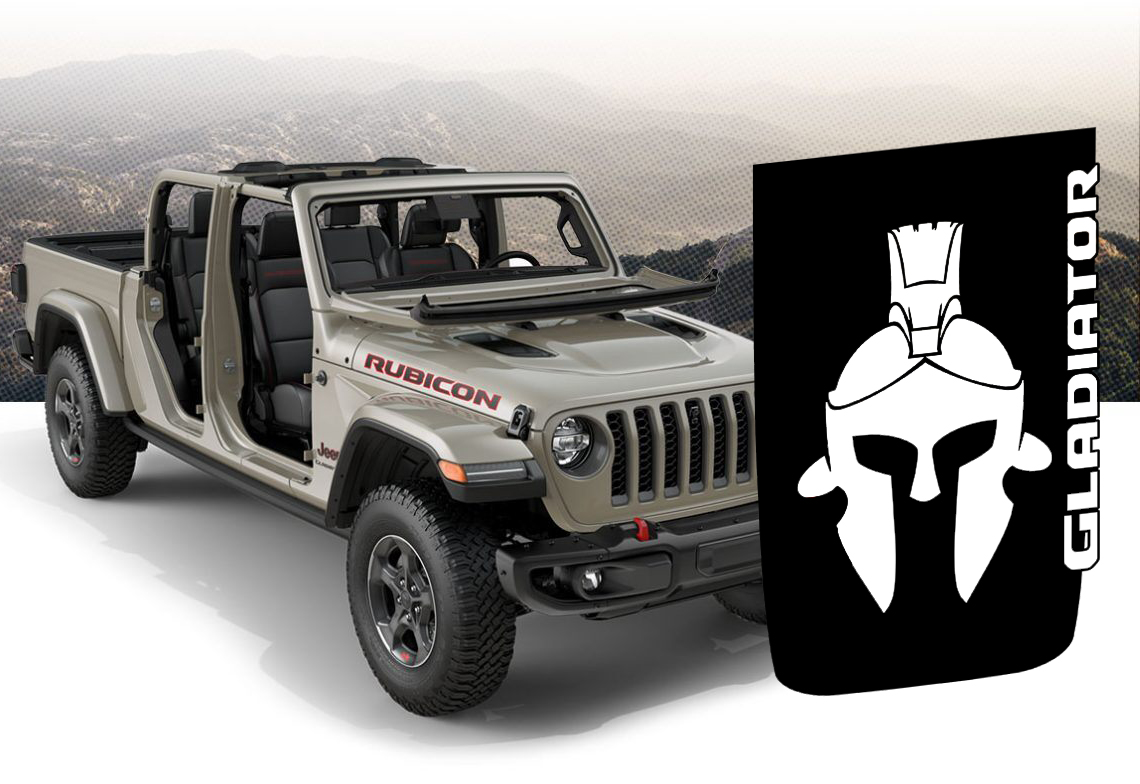 Hood Decal for Jeep JL/JT Rubicon Style Hood - Gladiator Helmet Blackout Decal