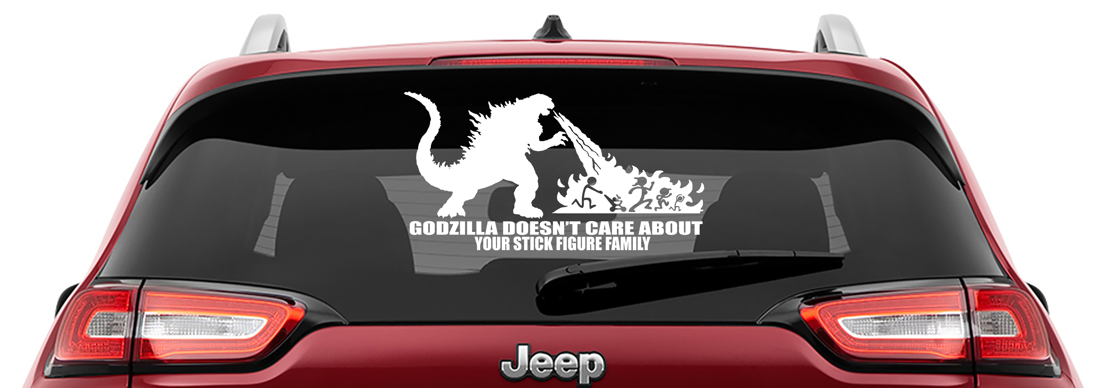 Godzilla Doesn't Care Your Stick Figure Family Vinyl Decal