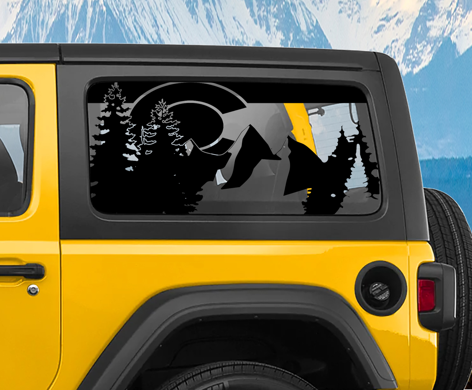 State of Colorado Flag Design Window Wrangler Jk & JL Hardtop Set Vinyl Decal | 2007-2019+