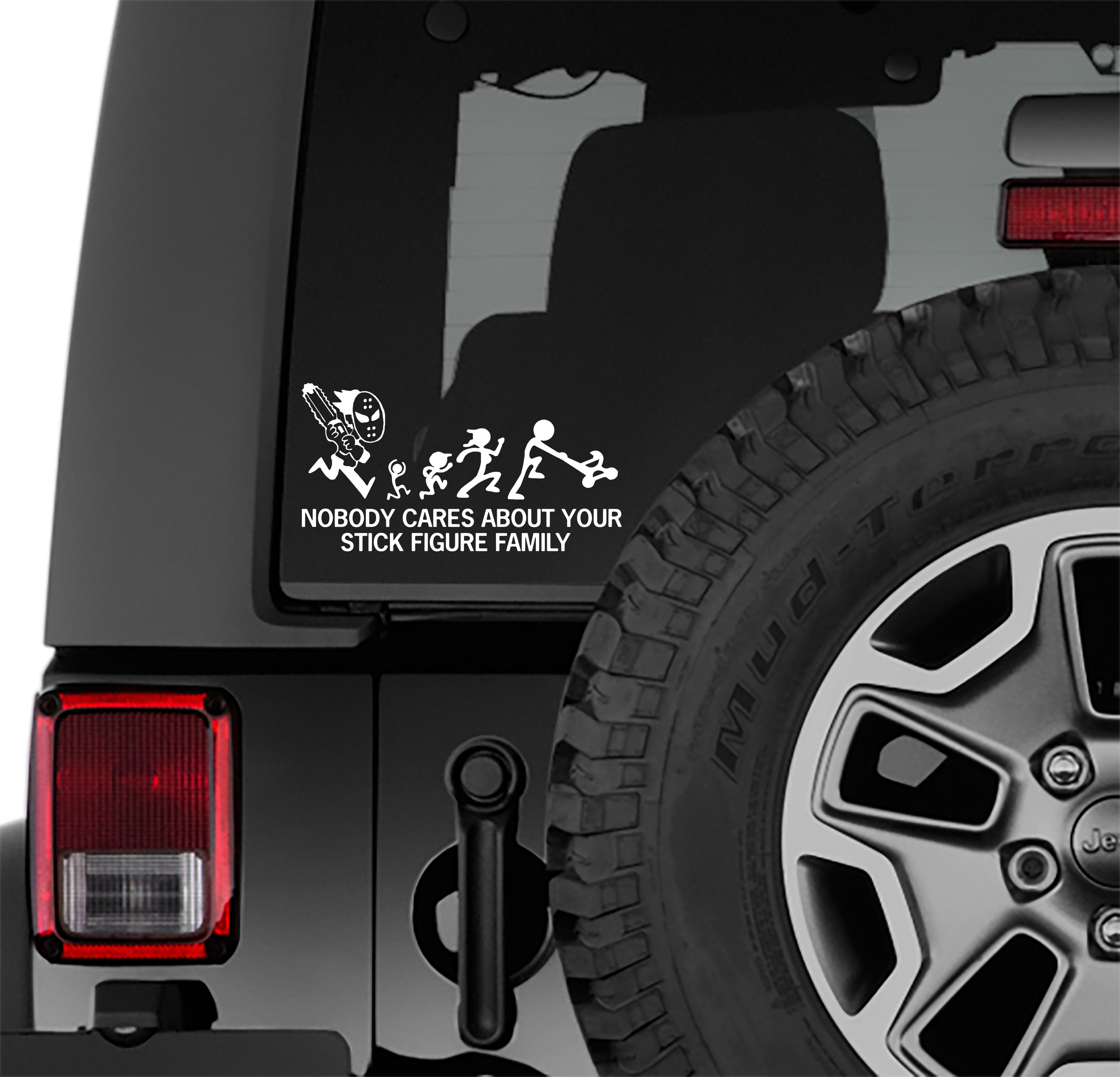Chainsaw Horror Nobody Cares About Your Stick Figure Family Vinyl Decal