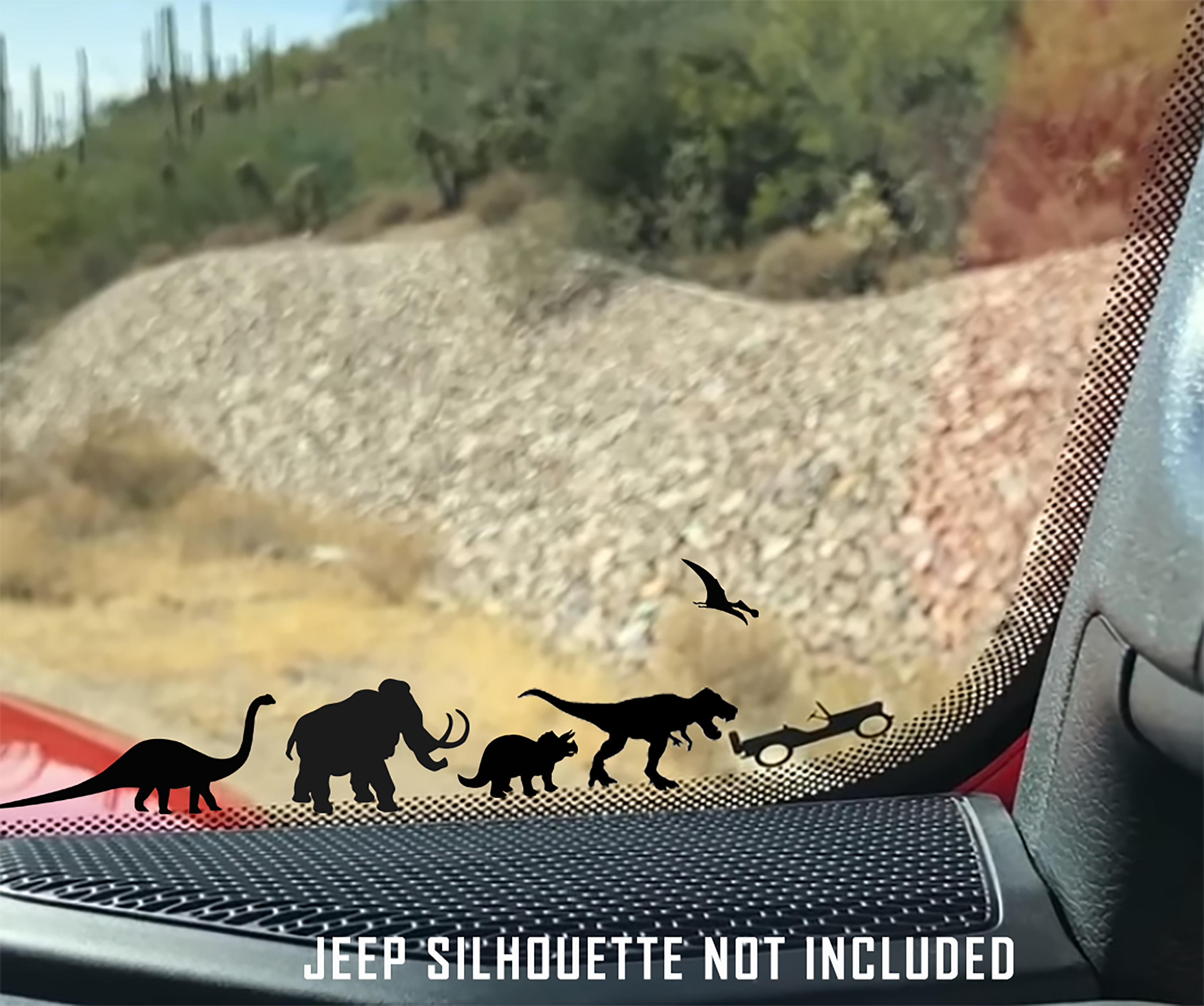 Jurassic World Dinosaur Windshield Jeep Corner Chaser Decal