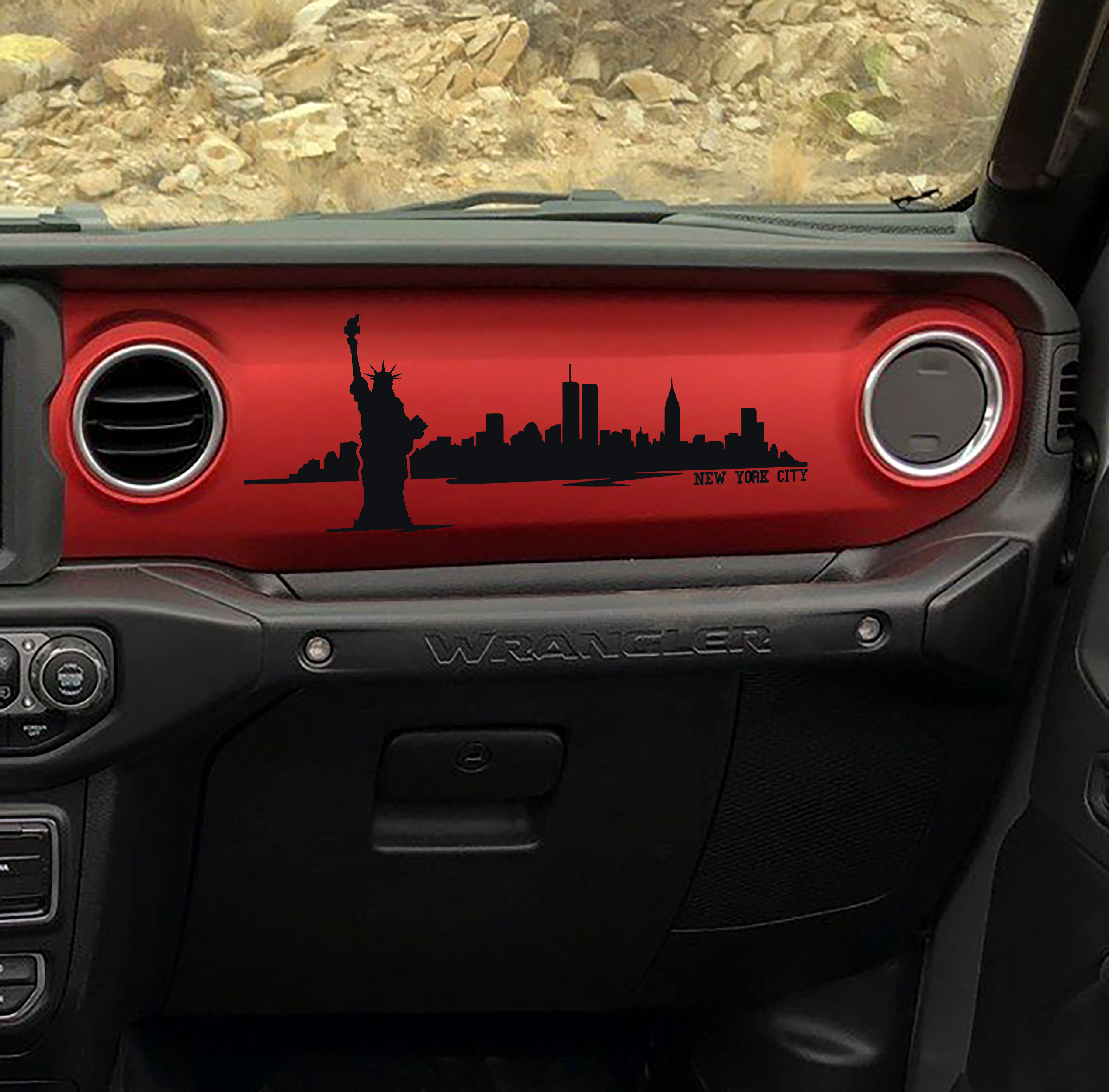 JL/JT City Skyline Silhouette Dashboard Vinyl Decal