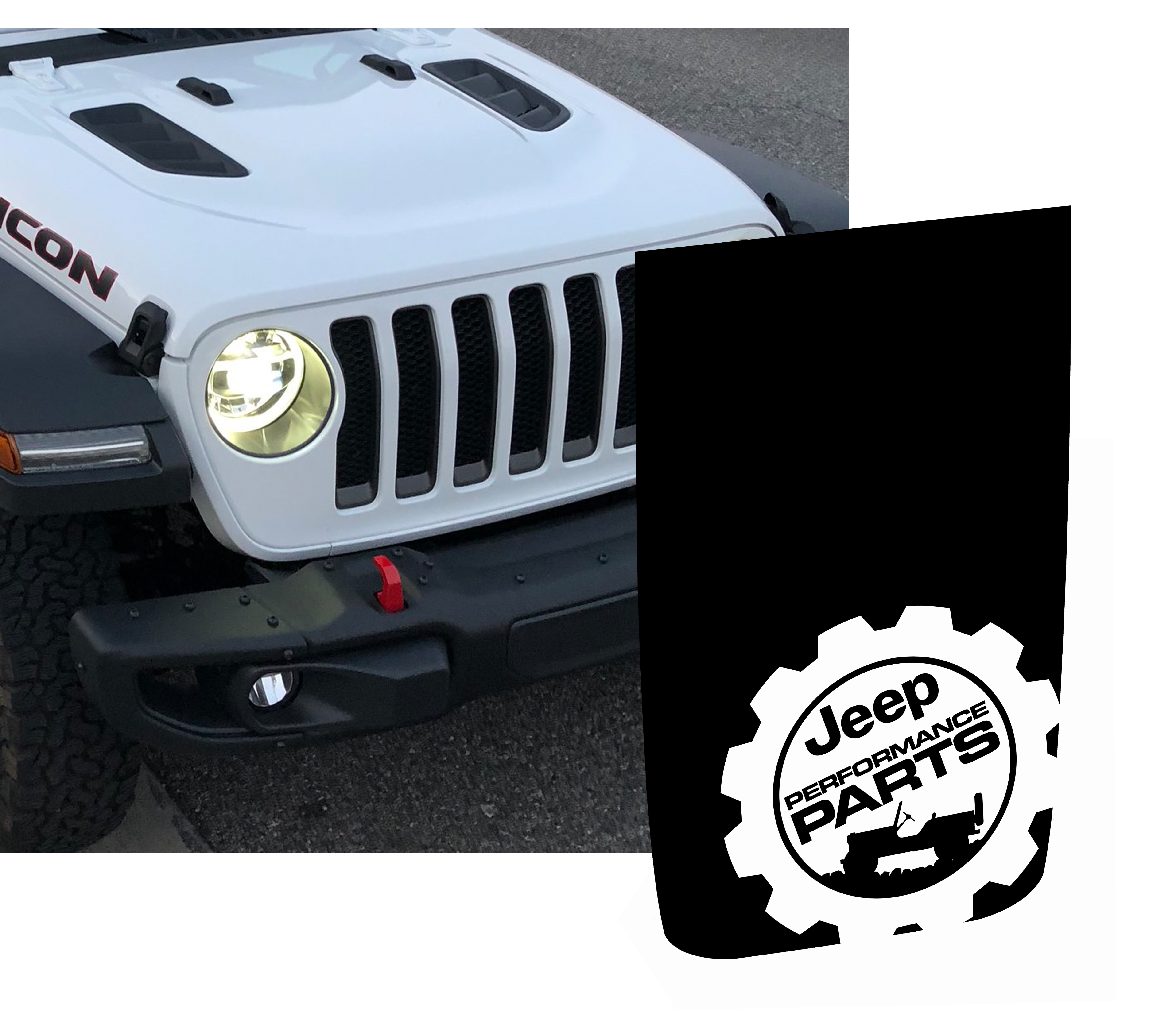 Jeep Wrangler Gladiator Rubicon Style Jeep Performance Parts Hood Blackout Decal fits 2018+ models