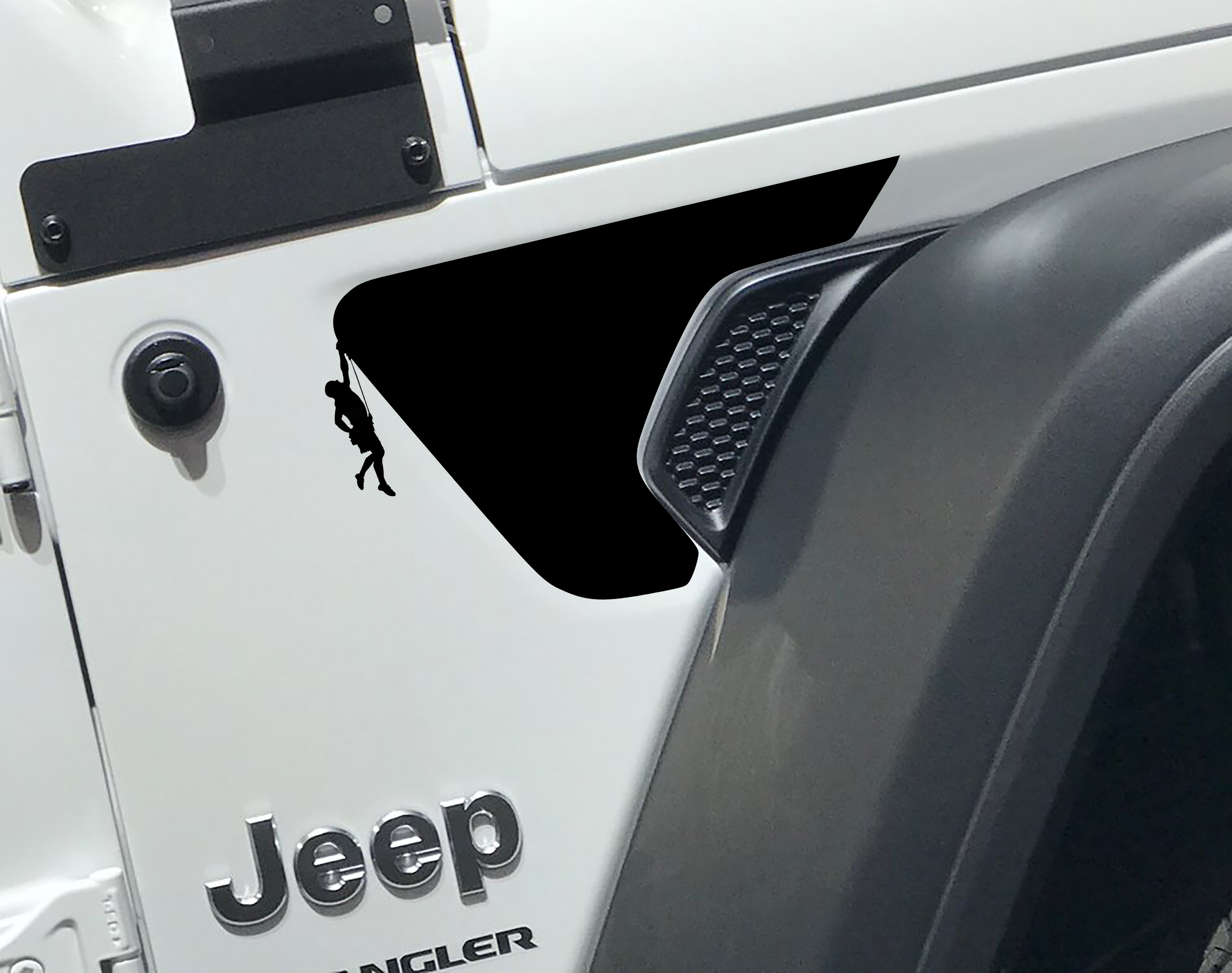 Jeep Wrangler JL Male Rock Climber Front Fender Vent Accent 2pc Vinyl Decal Graphic
