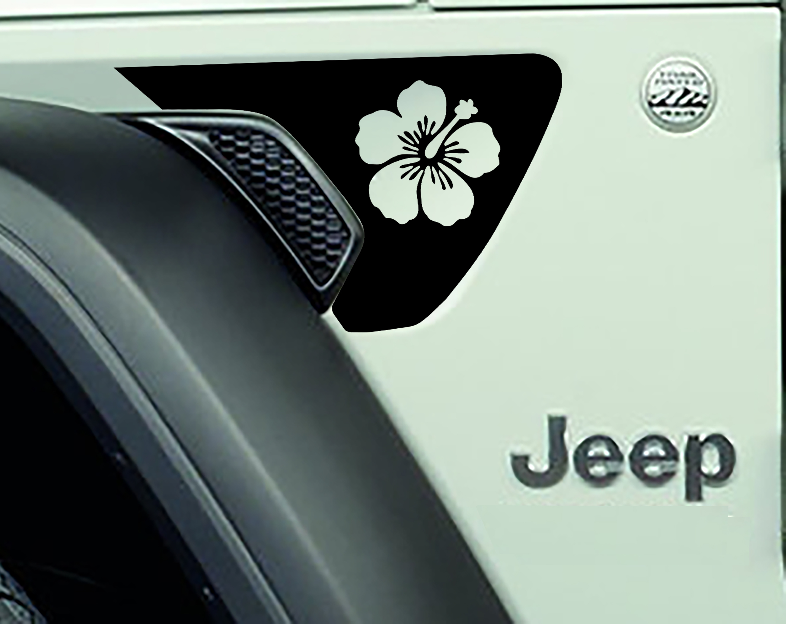 JL/JT Fender Vent Hawaiian Hibiscus Flower Blackout Decal Pair