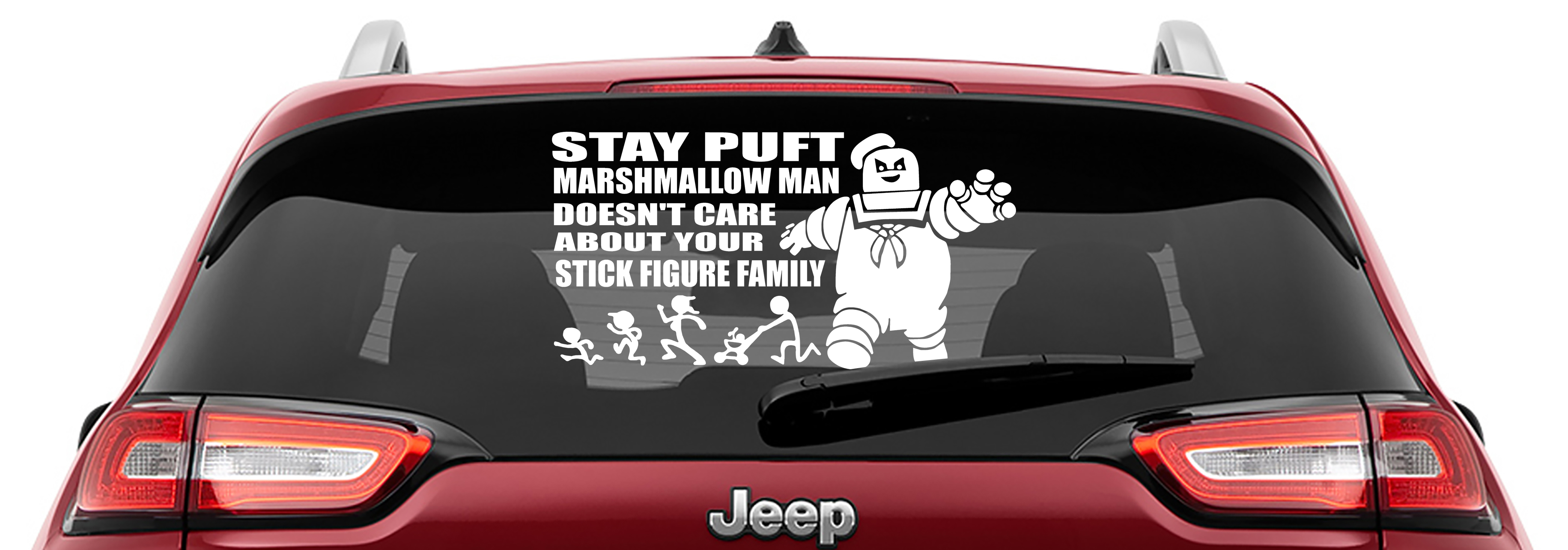 Ghostbusters Inspired Stay Puft Marshmallow Man Doesn't Care About Your Stick Figure Family Vinyl Decal