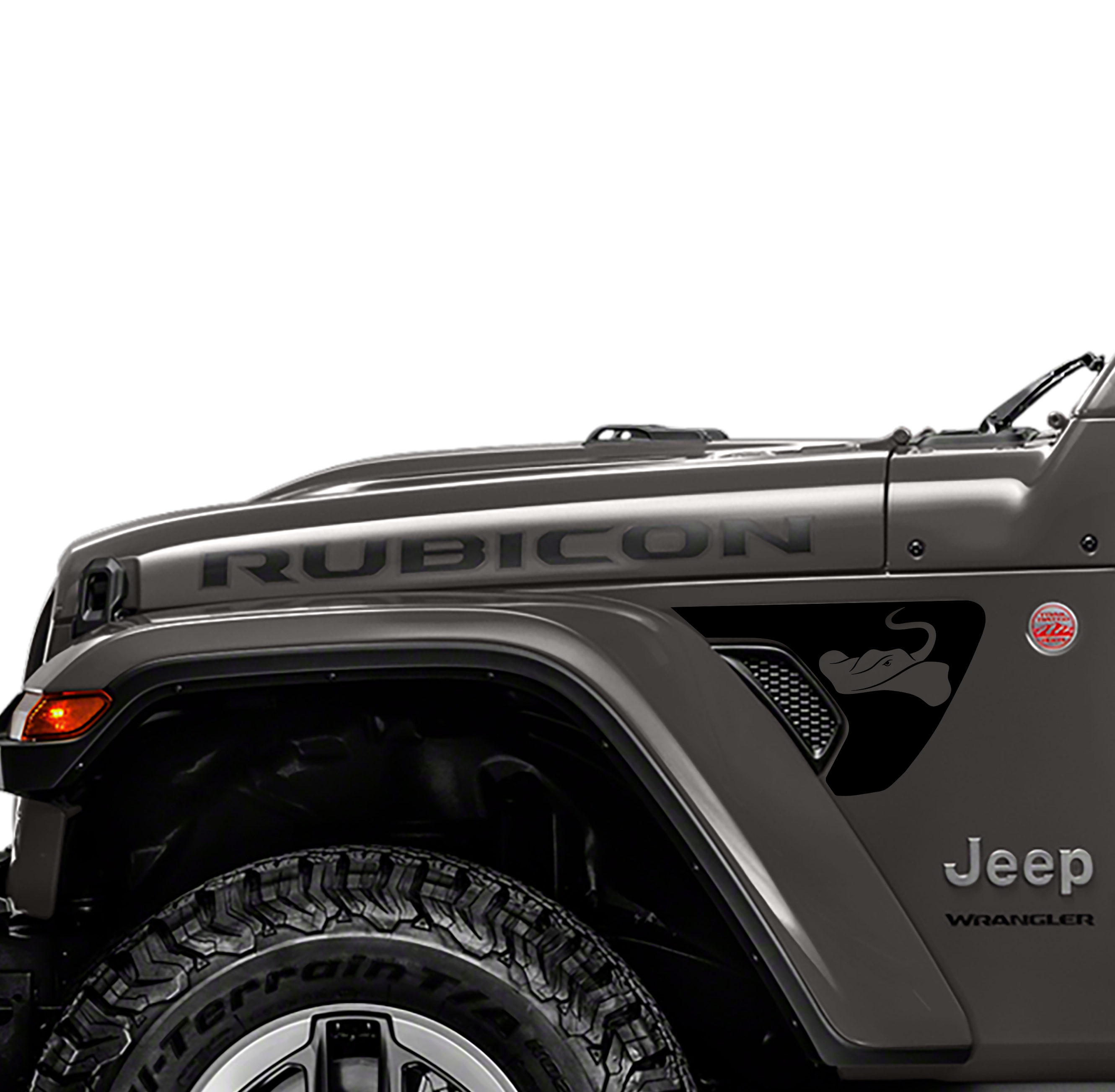 Sting-Gray Manta Ray 2pc Fender Vent Decals for 18+ Wrangler JL JLU Gladiator JT