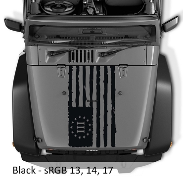 Distressed Three Percent American Flag Blackout Hood Vinyl Decal | Tattered III Percent American Flag Decal