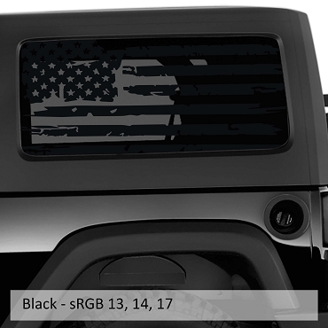 Distressed Tattered American Flag Window Hardtop Set Vinyl Decal for Jeep Wrangler 2007 - Current