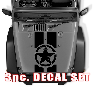 Distressed Alpha Romeo Military Star Black Out Hood 3 Piece Vinyl Decal Set