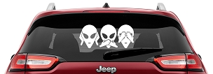 Hear No Evil See No Evil Speak No Evil Alien Head Vinyl Decal