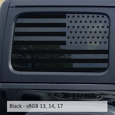 American Flag 4 Dr. Hardtop Window Vinyl Decal for 07 - Current Wranglers