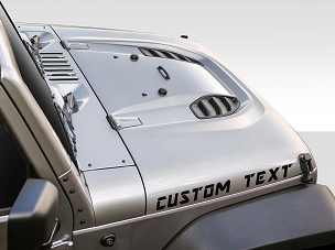 Custom Text Decals (x2 Pair) fits Jeep Wrangler 1997 - Current Hoods - Choose Font & Text