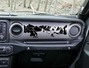 JL/JT Dashboard Snowboarder Mountain Scene Vinyl Decal