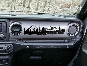 Jeep JL Wrangler Dashboard Mountain Scene Ver 1 Vinyl Decal