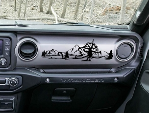 JL/JT Dashboard Mountain with Compass Scene Ver 2 Vinyl Decal