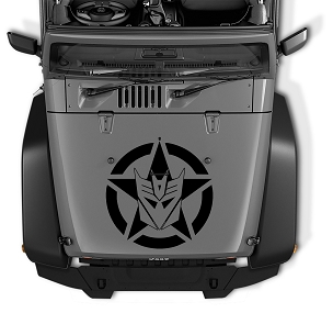Decepticon Military Star Vinyl Hood Decal | Military Star With Decepticon Logo Decal