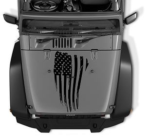 Jeep Wrangler Distressed American Flag Blackout Hood Vinyl Decal | Distressed American Flag Decal
